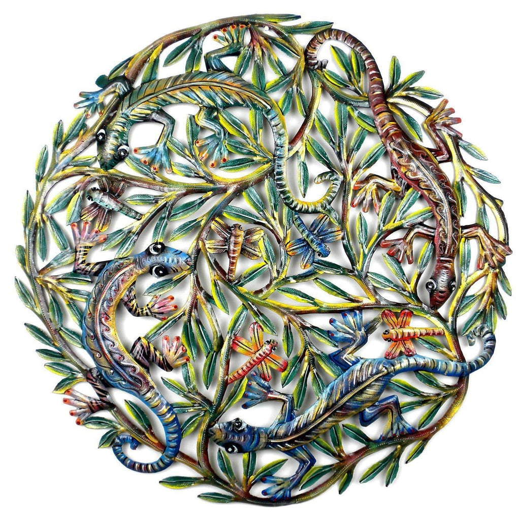Croix des Bouquets Metal Wall Art Four Geckos Painted Metal Wall Art - Croix des Bouquets