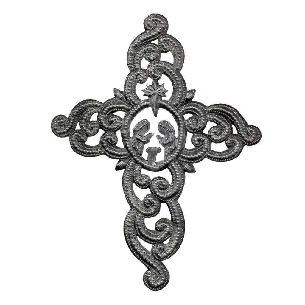 "Croix des Bouquets Metal Wall Art Metal Cross Wall Art, Ornate with Nativity Scene (9.5"" x 12"") - Croix des Bouquets (H)"