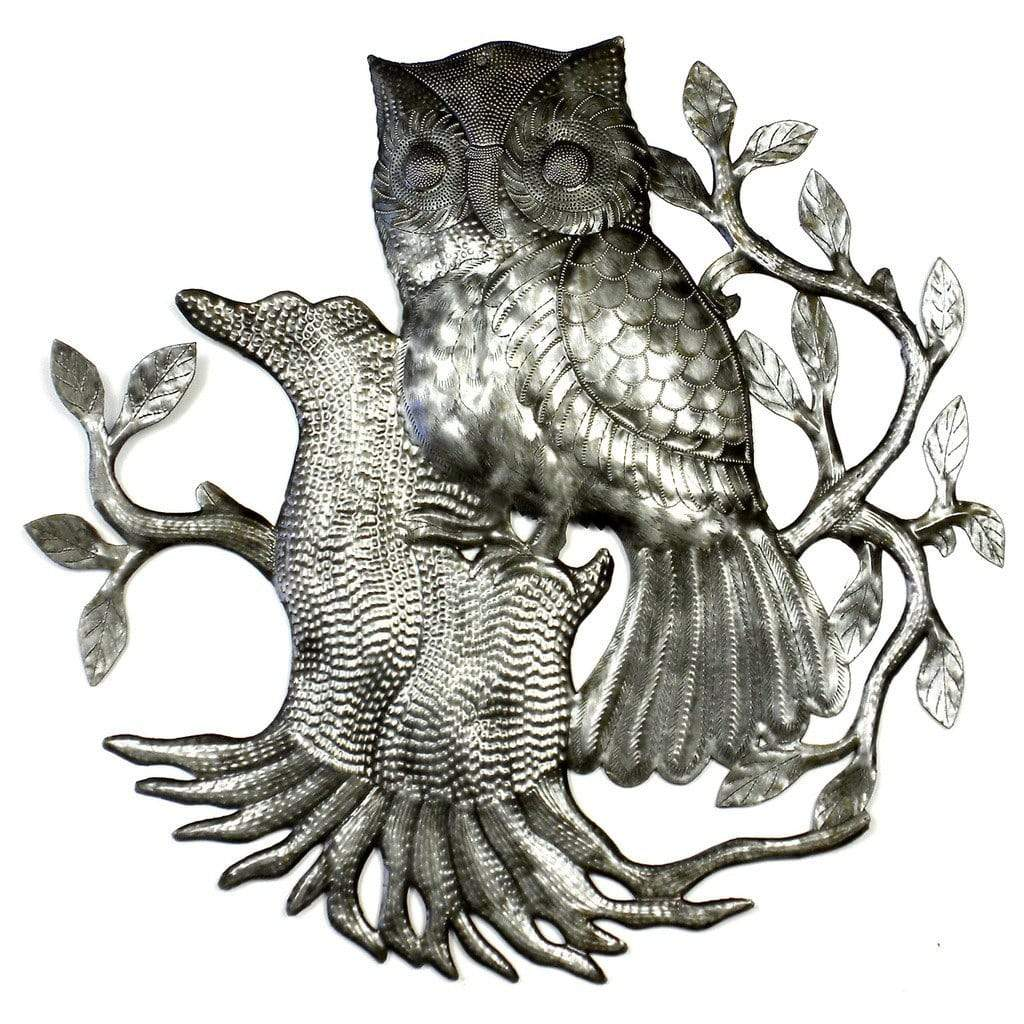 Croix des Bouquets Metal Wall Art Owl on Perch Metal Wall Art - Croix des Bouquets