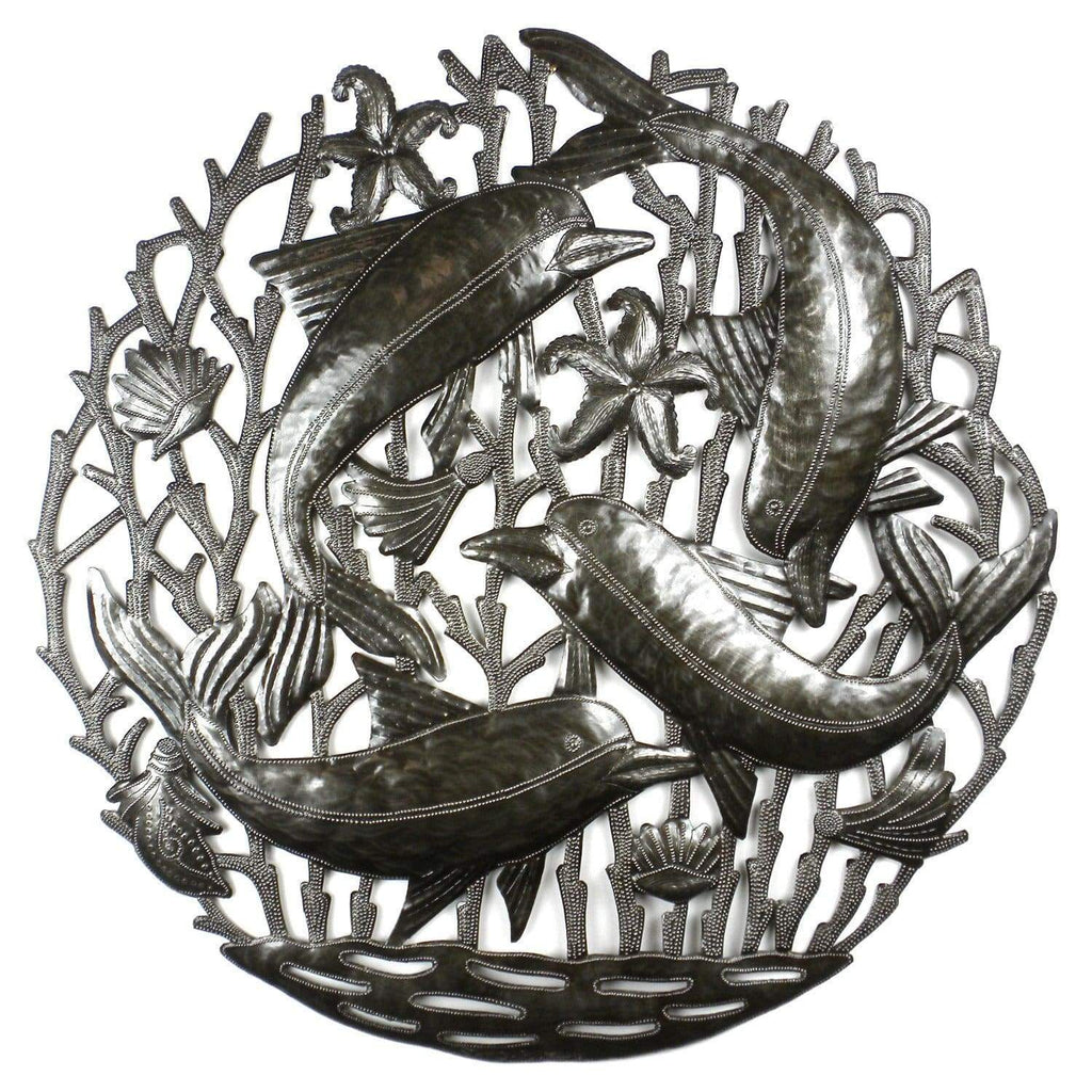 Croix des Bouquets Metal Wall Art Pod of Dolphins Metal Wall Art - Croix des Bouquets