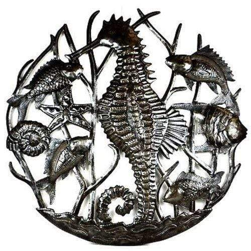 Croix des Bouquets Metal Wall Art Seahorse and Fish Metal Art - Croix des Bouquets