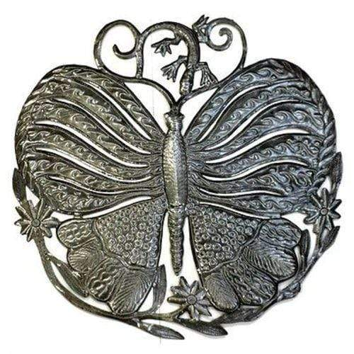 Croix des Bouquets Metal Wall Art Steel Drum Art - 24 inch Butterfly and Gecko - Croix des Bouquets