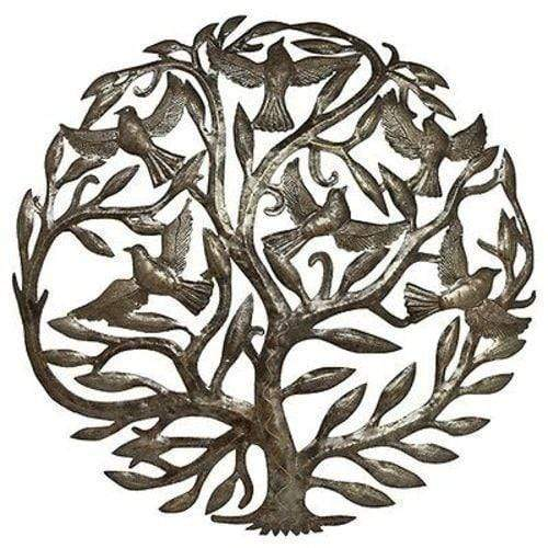 Croix des Bouquets Metal Wall Art Steel Drum Art - 24 inch Tree of Life - Croix des Bouquets