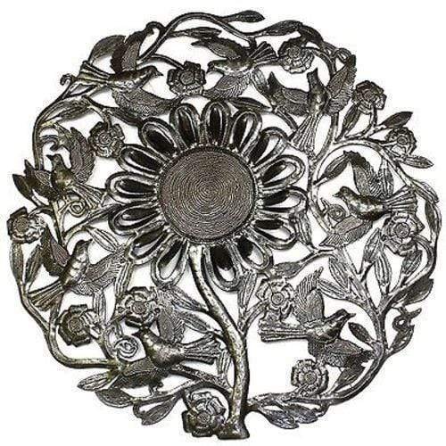Croix des Bouquets Metal Wall Art Sunflower and Birds Metal Wall Art 24-inch Diameter - Croix des Bouquets