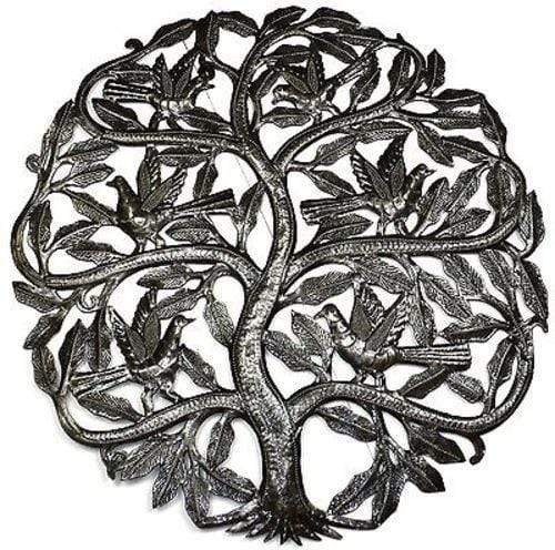 Croix des Bouquets Metal Wall Art Tree of Life Birds Ready to Fly Metal Wall Art 24-inch Diameter - Croix des Bouq