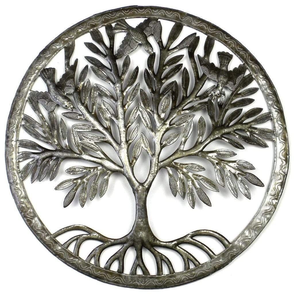Croix des Bouquets Metal Wall Art Tree of Life in Ring Wall Art - Croix des Bouquets
