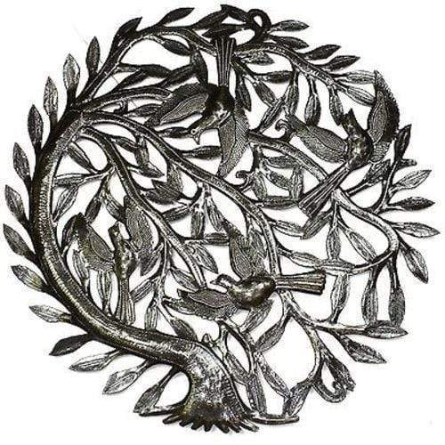 Croix des Bouquets Metal Wall Art Tree of Life with Curved Trunk Metal Wall Art 24-inch Diameter - Croix des Bouqu