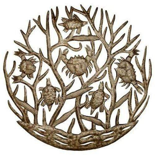 Croix des Bouquets Metal Wall Art Turtle and Crabs Drum Art 24 inch - Croix des Bouquets