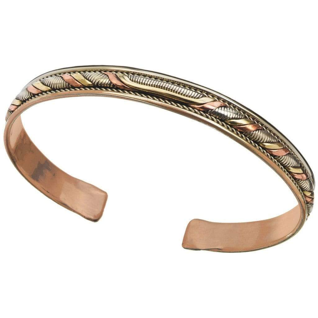 DZI (J) Bracelet Copper and Brass Cuff Bracelet: Healing Twist - DZI (J)