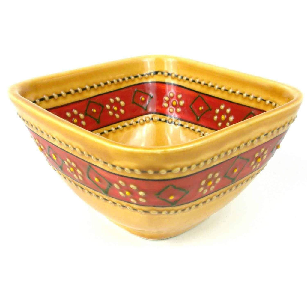 Encantada Encantada Hand-painted Square Bowl in Honey - Encantada