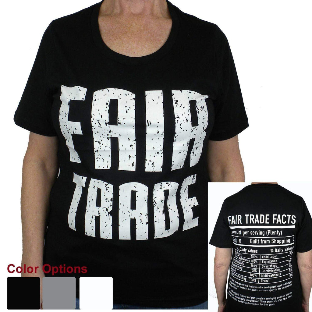 Global Crafts Tee Shirts Small / Black Fitted Fair Trade Tee Shirt with 1/4 Sleeve - Freeset