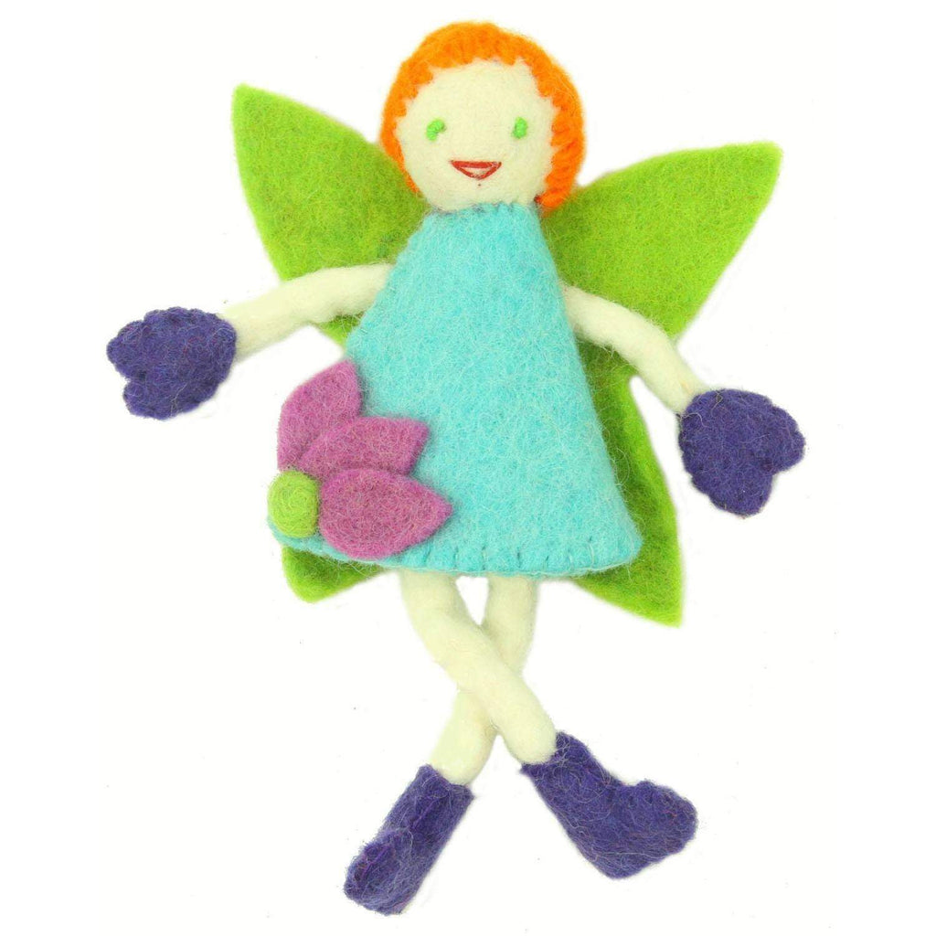 Global Groove Games Hand Felted Tooth Fairy Pillow - Redhead with Blue Dress - Global Groove