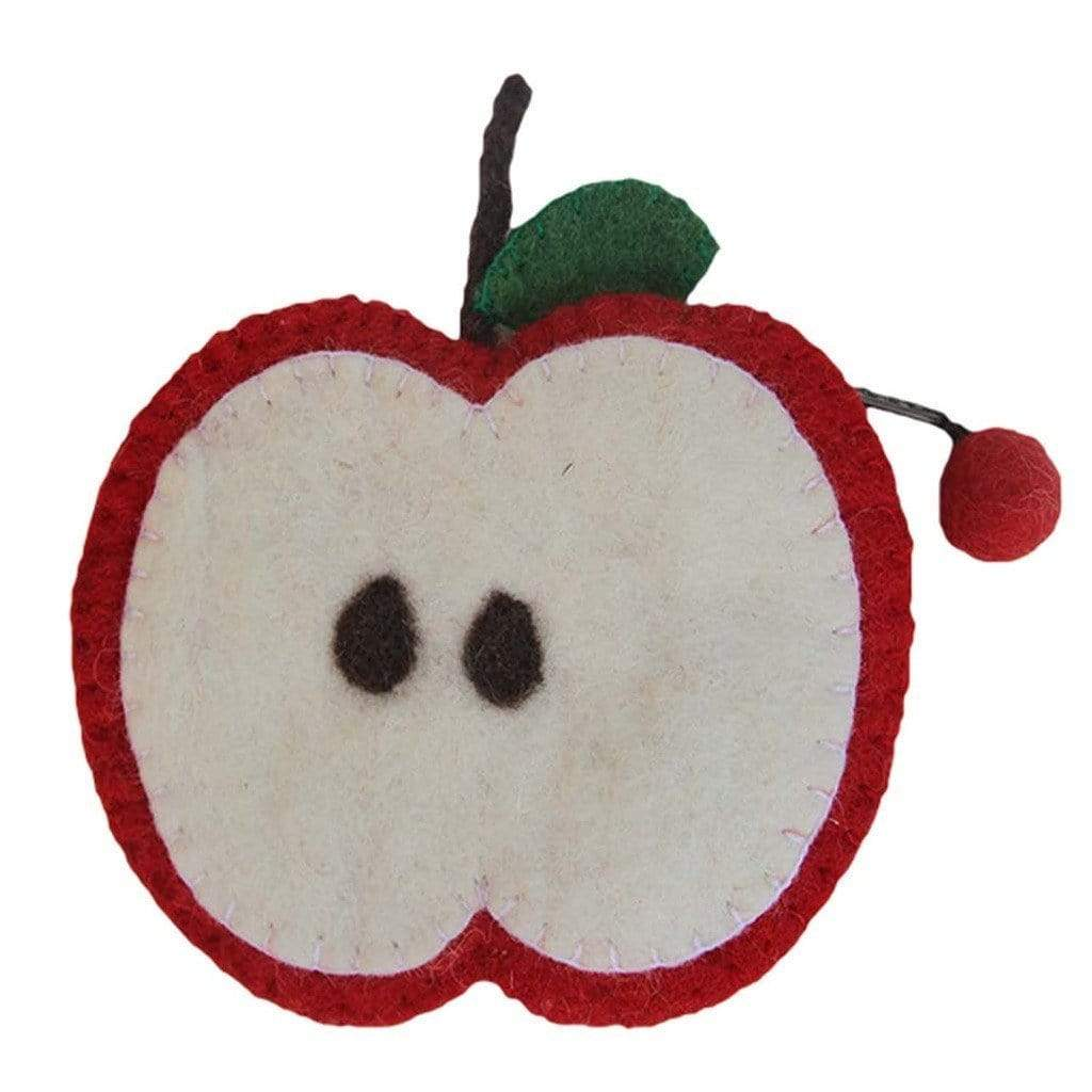 Global Groove (P) Purses And Pouches Handmade Felt Fruit Coin Purse - Apple - Global Groove (P)