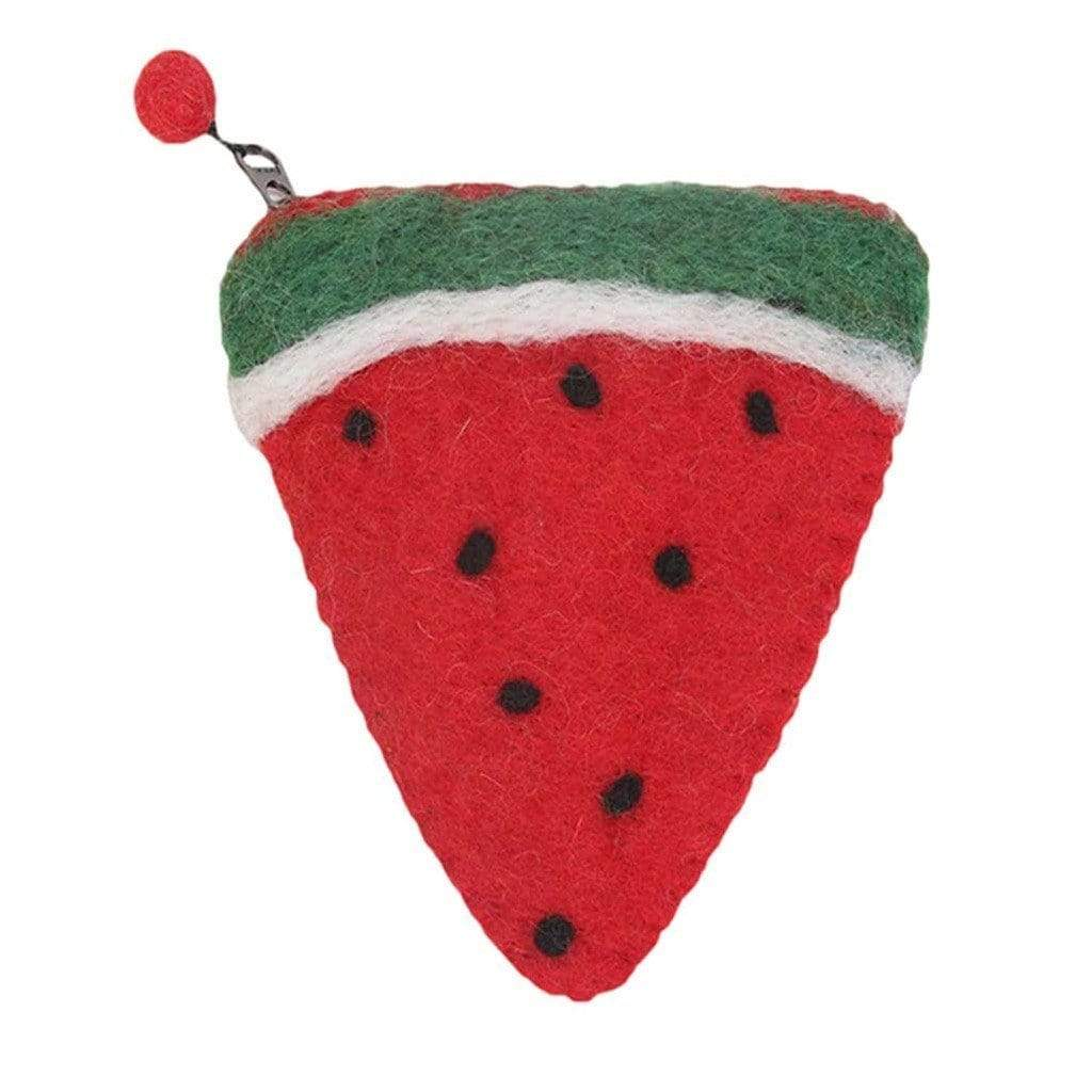Global Groove (P) Purses And Pouches Handmade Felt Fruit Coin Purse - Watermelon - Global Groove (P)