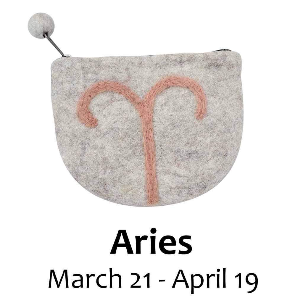Global Groove Purses And Pouches Felt Aries Zodiac Coin Purse - Global Groove