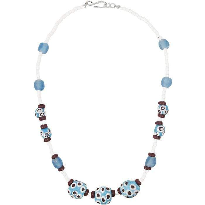Global Mamas Ghanaian Collection Grace Necklace in Blue - Global Mamas