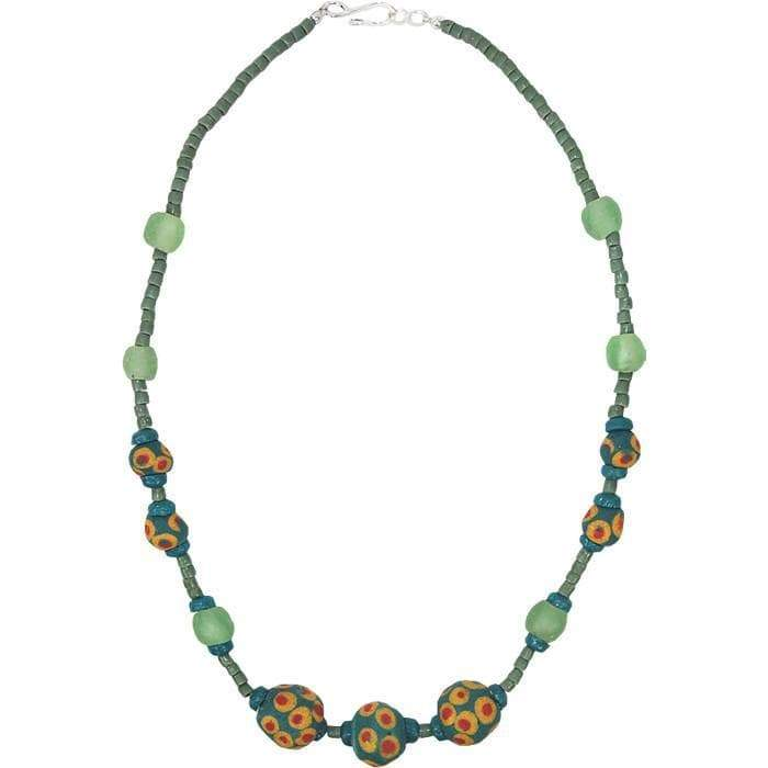 Global Mamas Ghanaian Collection Grace Necklace in Moss - Global Mamas