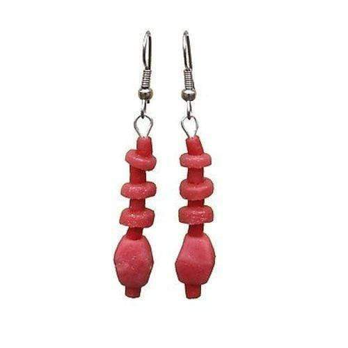 Global Mamas Ghanaian Collection Pink Poppy Glass Pebbles Earrings - Global Mamas