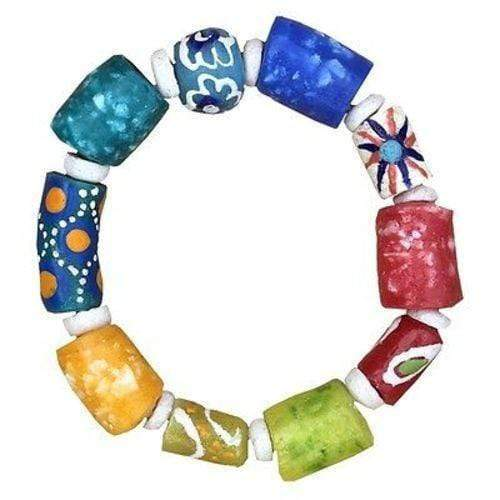 Global Mamas Ghanaian Collection Recycled Glass Marble Bracelet in Rainbow - Global Mamas