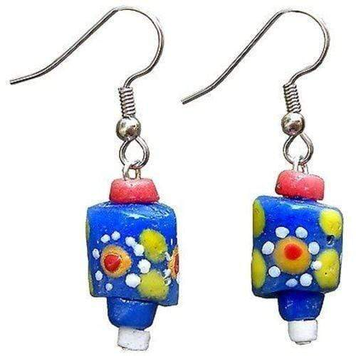 Global Mamas Ghanaian Collection Recycled Glass New Day Bead Sister Earrings - Global Mamas