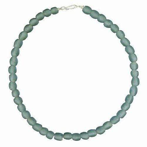 Global Mamas Ghanaian Collection Sky Blue Pearl Glass Bead Necklace - Global Mamas