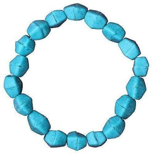 Global Mamas Ghanaian Collection Teal Glass Pebbles Bracelet - Global Mamas