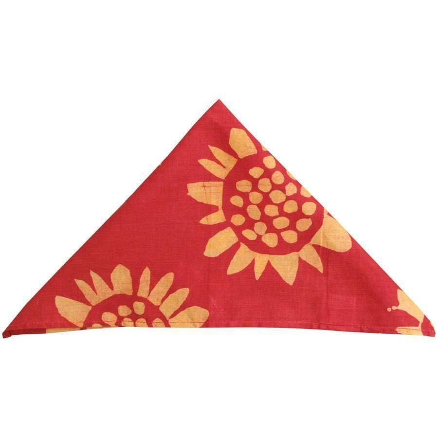 Global Mamas (L) Home Decor-Linens Set of Four Napkins - Sunflower Red - Global Mamas (L)