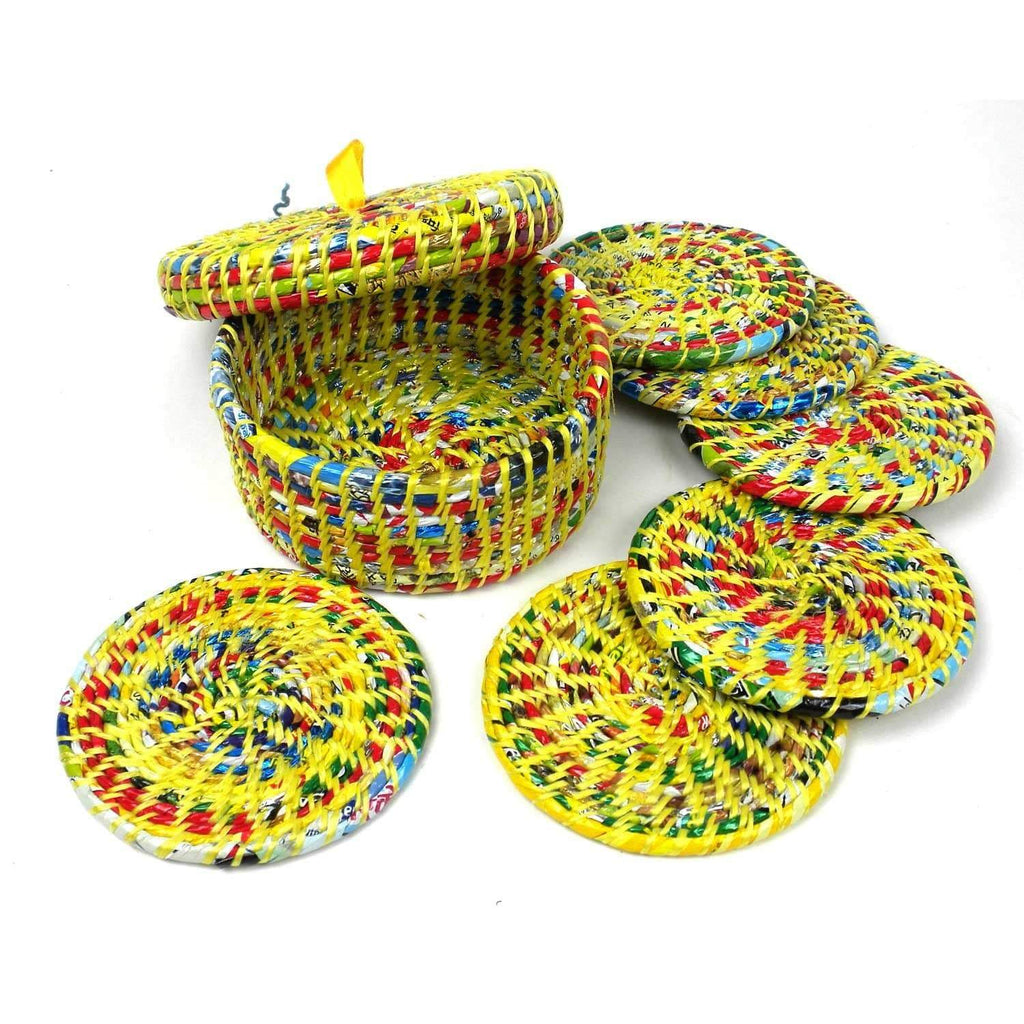 Jeevankala (T) Coasters Yellow Recycled Wrapper Coasters Box Set Of 6 -