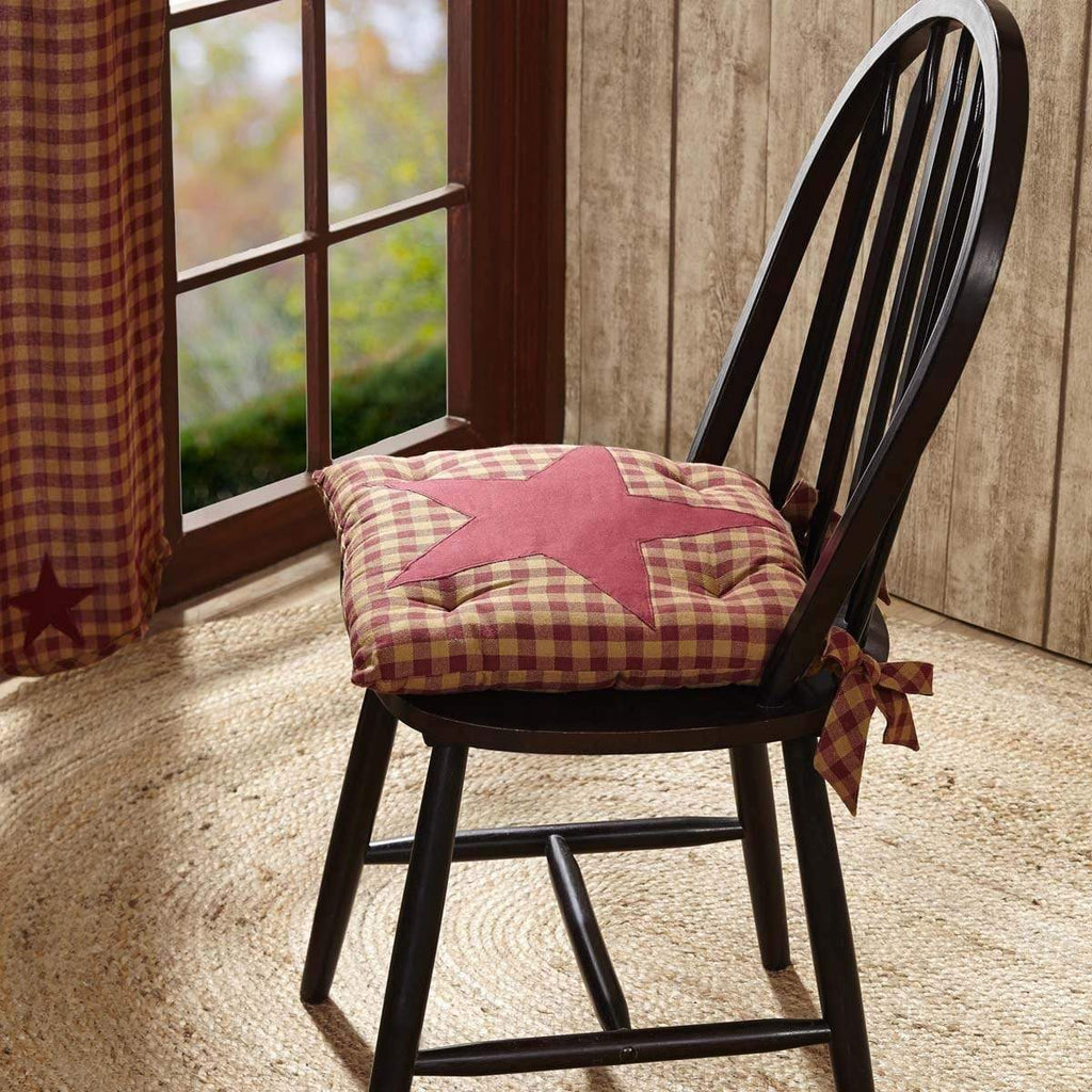 Mayflower Market Chair Pad Burgundy Star Chair Pad