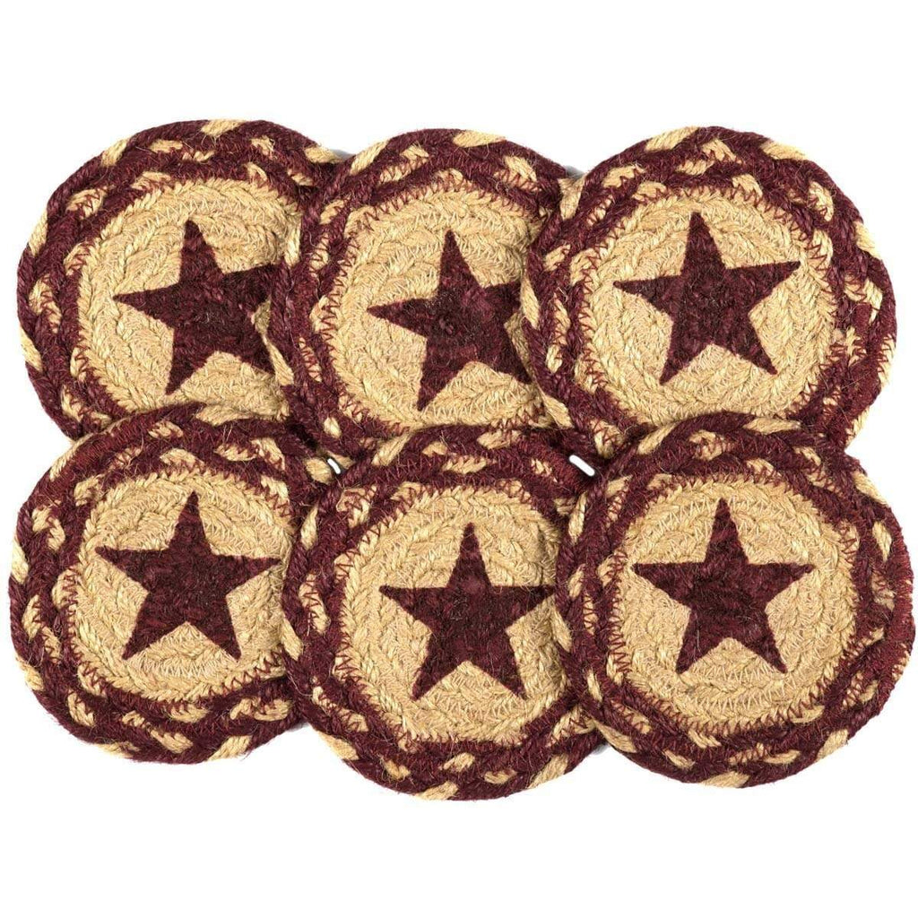 Mayflower Market Coaster Burgundy Tan Jute Coaster Stencil Star Set of 6
