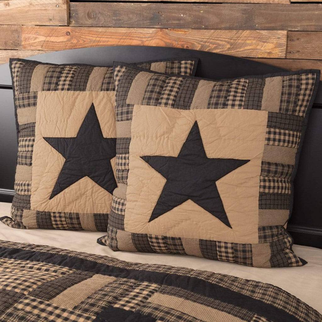 Mayflower Market Euro Sham Black Check Star Quilted Euro Sham 26x26