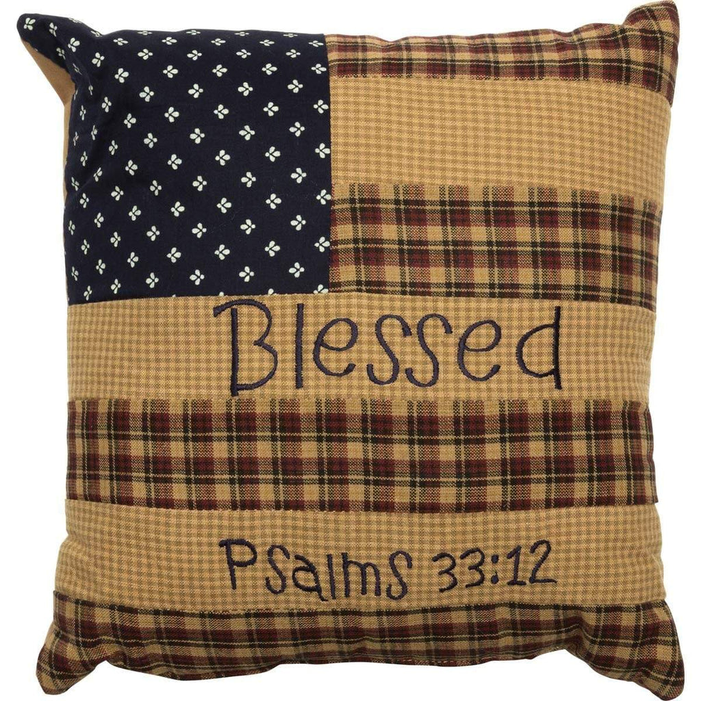 Mayflower Market Pillow Patriotic Patch Pillow Blessed 10x10