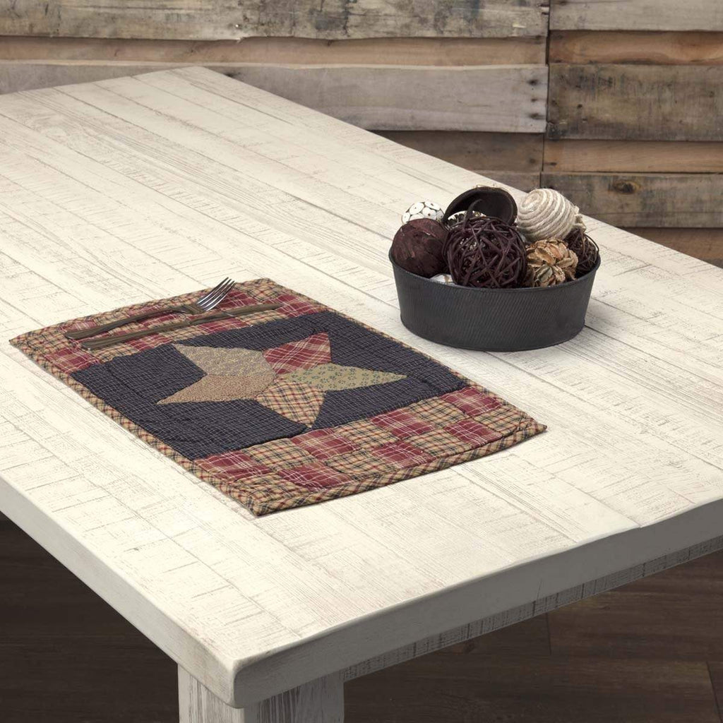 Mayflower Market Placemat Arlington Placemat Quilted Patchwork Star Set of 6 12x18