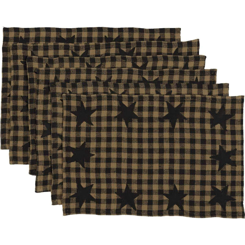Mayflower Market Placemat Black Star Placemat Set of 6 12x18