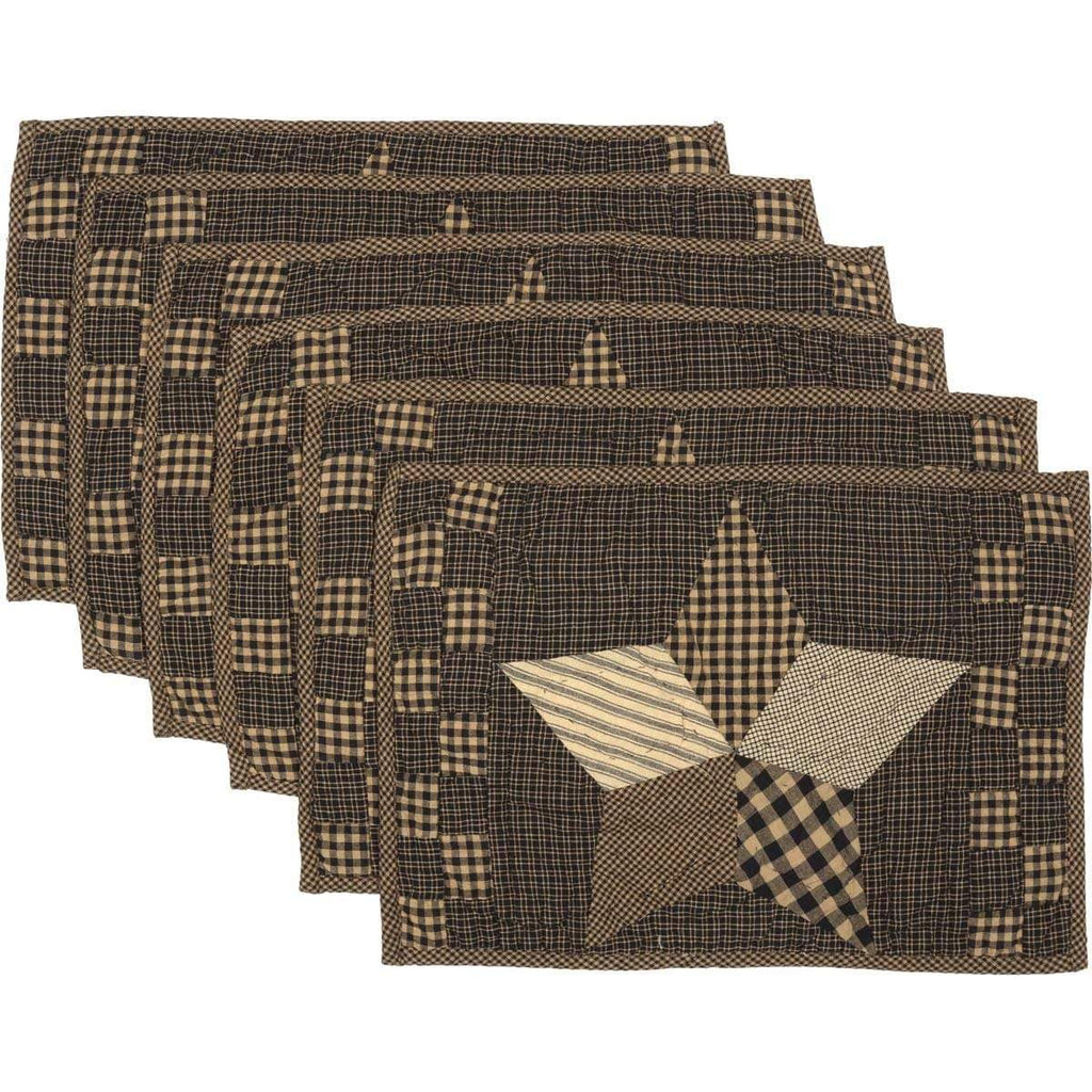 Mayflower Market Placemat Farmhouse Star Placemat Quilted Set of 6 12x18