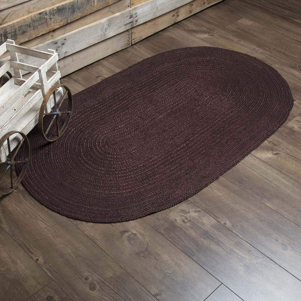 Mayflower Market Rug Burgundy Jute Rug Oval 36x60