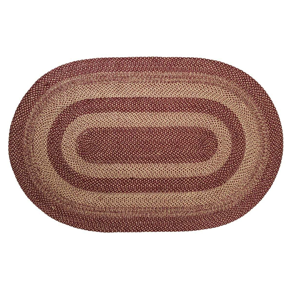 Mayflower Market Rug Burgundy Tan Jute Rug Oval 60x96