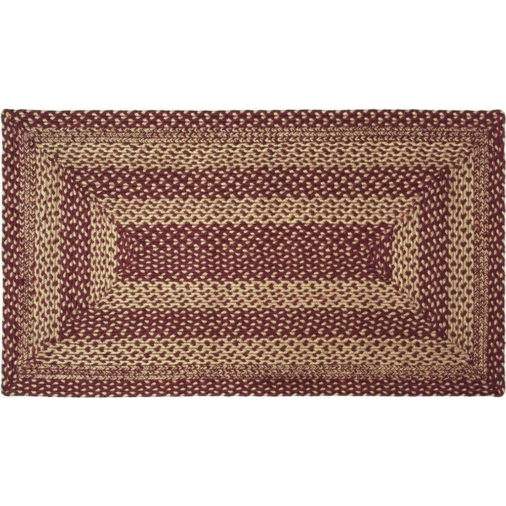 Mayflower Market Rug Burgundy Tan Jute Rug Rect 27x48