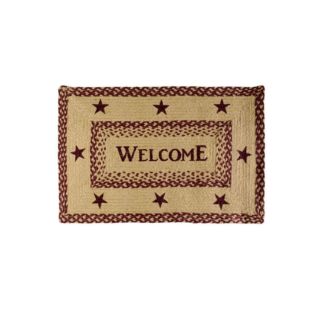 Mayflower Market Rug Burgundy Tan Jute Rug Rect Welcome 20x30