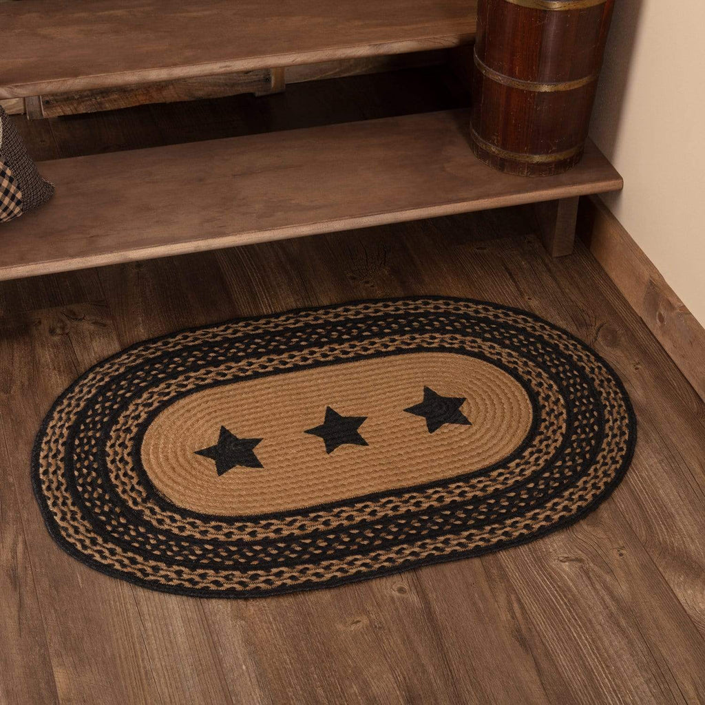Mayflower Market Rug Farmhouse Jute Rug Oval Stencil Stars 24x36