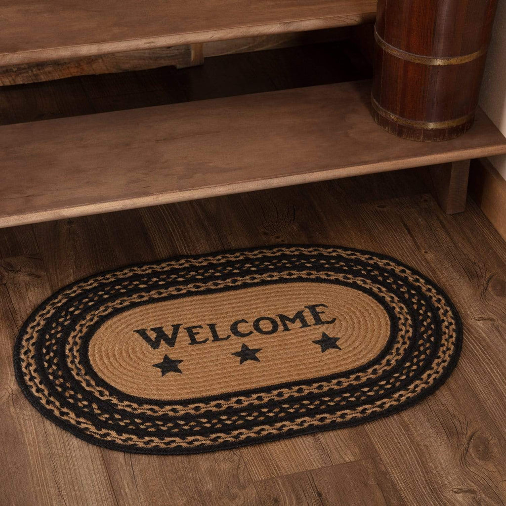 Mayflower Market Rug Farmhouse Jute Rug Oval Stencil Stars Welcome 20x30
