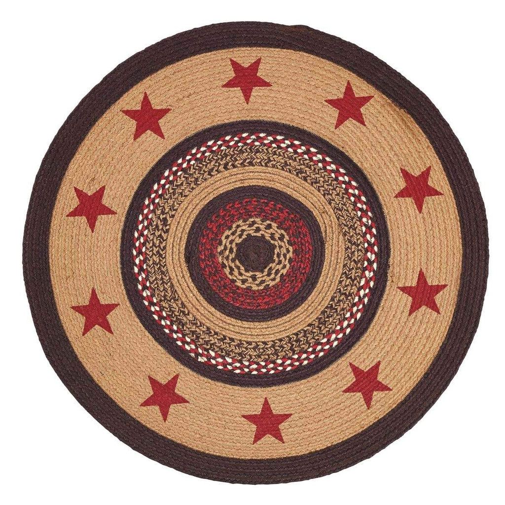 Mayflower Market Rug Landon Jute Rug Stencil Stars 3ft Round