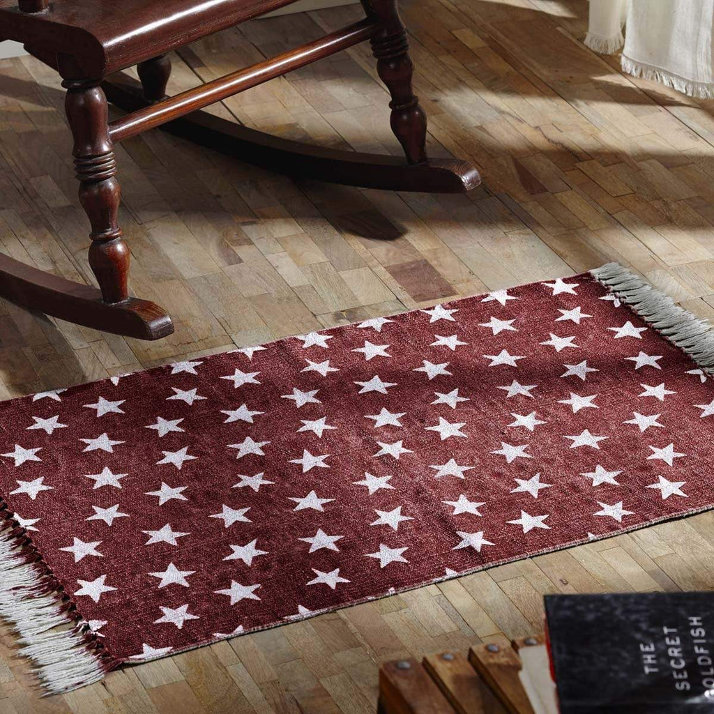 Mayflower Market Rug Multi Star Red Cotton Rug Rect 36x60