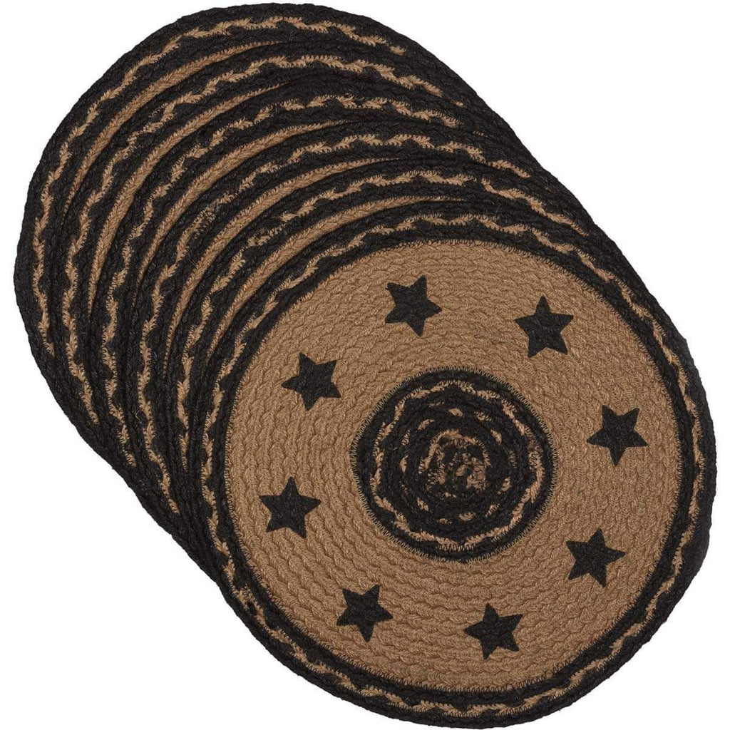 Mayflower Market Tablemat Farmhouse Jute Tablemat Stencil Stars 13 Set of 6