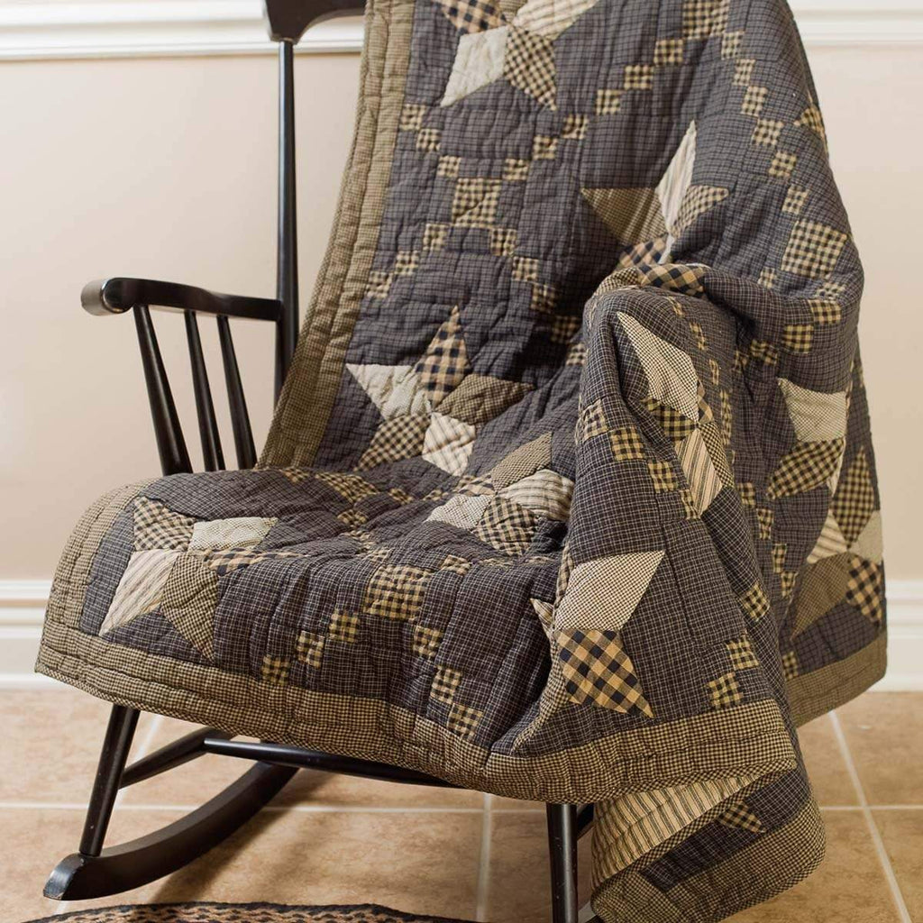 Mayflower Market Throw Farmhouse Star Quilted Throw 60x50