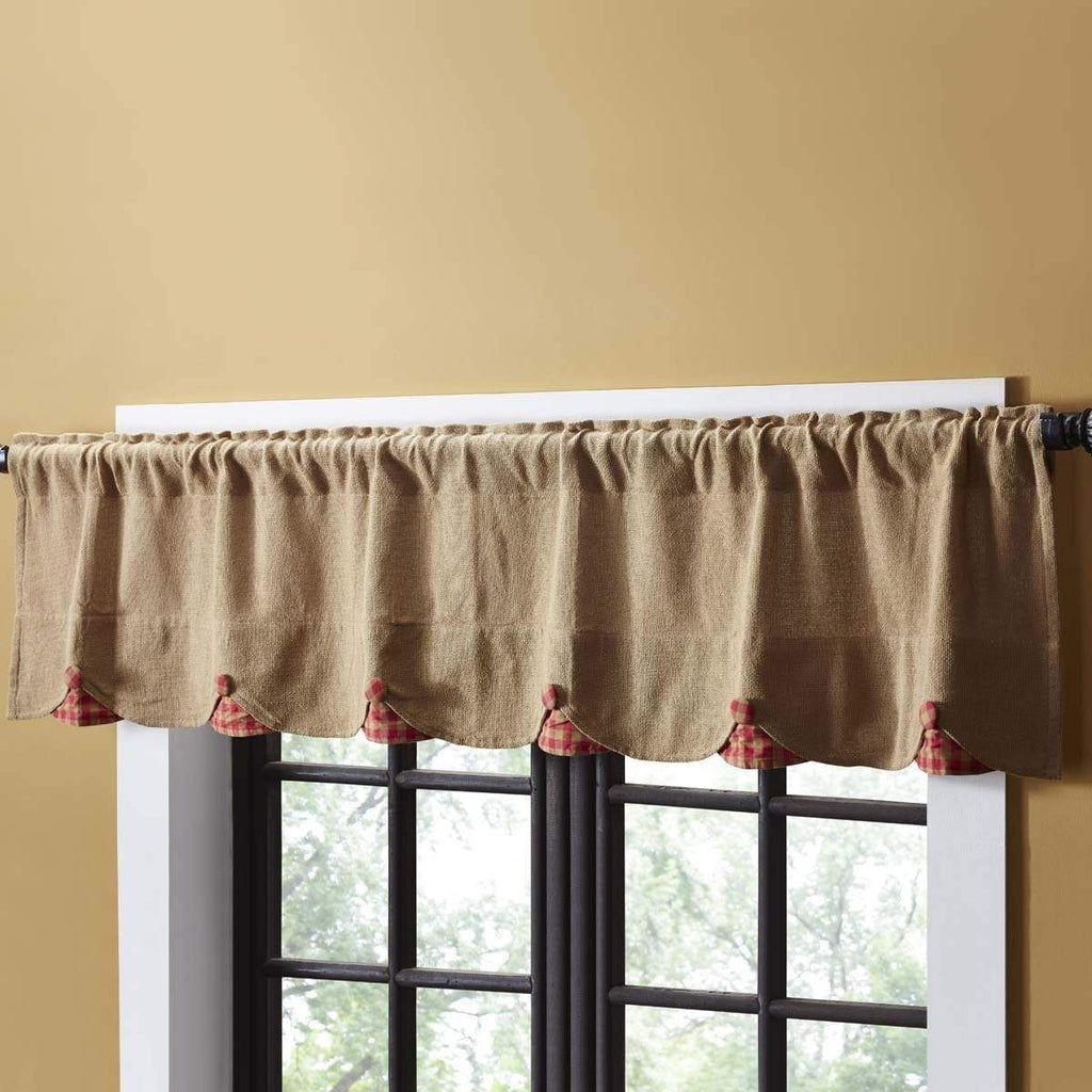 Mayflower Market Valance Burlap w/Red Check Scalloped Valance 16x72