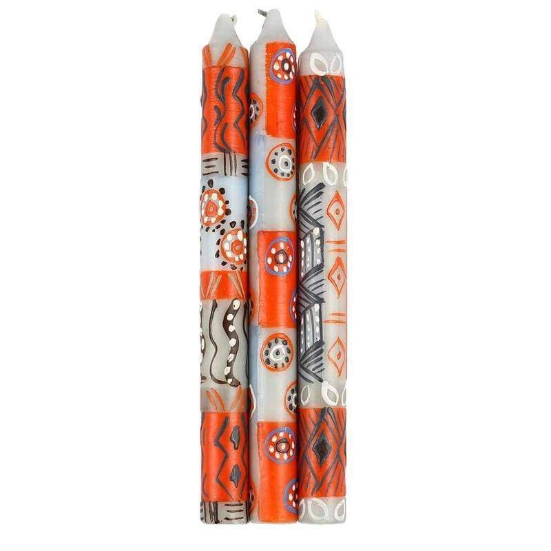 Nobunto Candles Hand Painted Candles in Kukomo Design (three tapers) - Nobunto