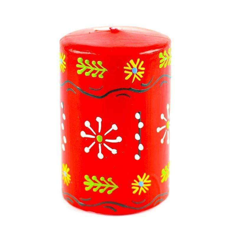 Nobunto Candles Hand Painted Candles in Red Masika Design (pillar) - Nobunto