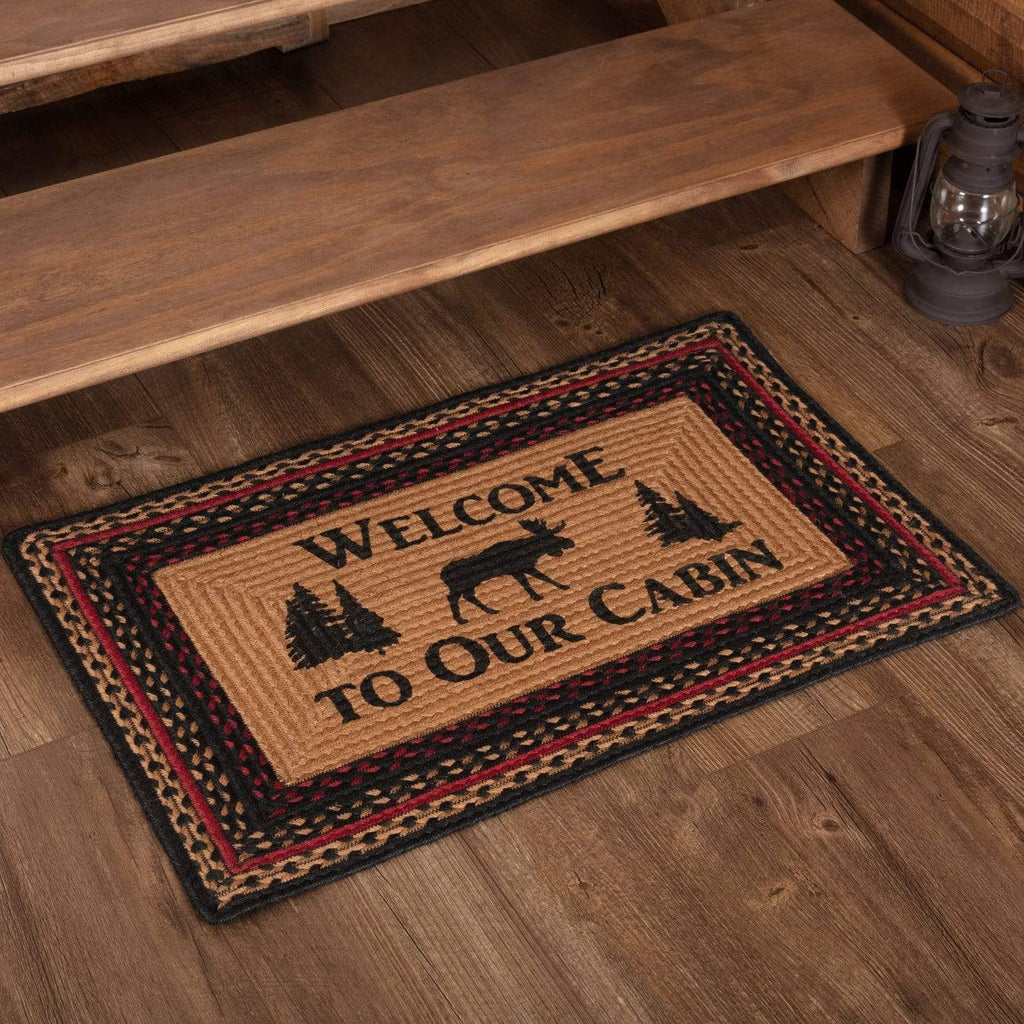Oak & Asher Rug Cumberland Stenciled Moose Jute Rug Rect Welcome to the Cabin 20x30