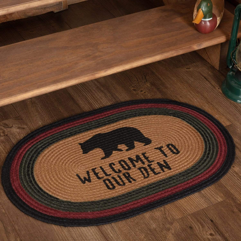 Oak & Asher Rug Wyatt Stenciled Bear Jute Rug Oval Welcome to Our Den 20x30